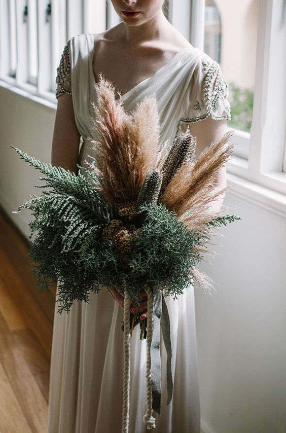 K'Mich Weddings in Philadelphia PA - wedding planning -wedding decor - Pampas Grass - Bouquet with pampas grass - Samila Bouquet