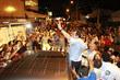 Prefeito eleito deixou sede do PDT para participar da festa de comemoração da vitória