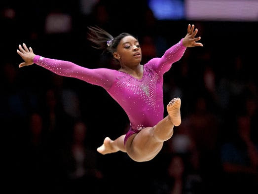 Simone Biles of the USA performs during the floor exercise.