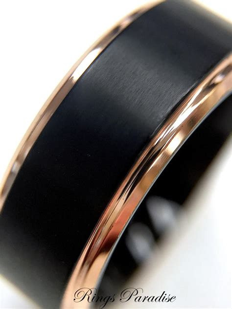 black titanium ring mens wedding band rose gold