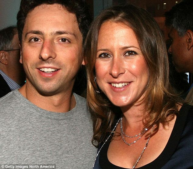 Brin, 40, pictured with his wife Anna Wojcicki, also 40, in 2008: One of the journalists who broke the story for U.S. technology website All Things D is the partner of a Google executive who is a close friend of Miss Wojcicki