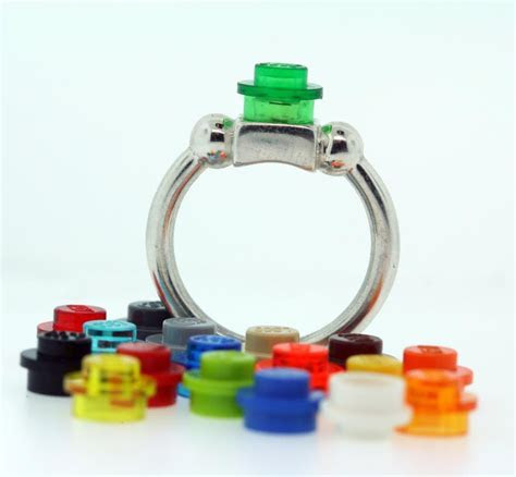 Lego ring in sterling silver with interchangeable lego