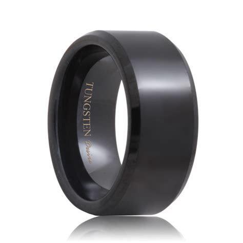 Scottsdale Beveled 10mm Wide Black Tungsten Wedding Band