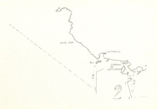 Απόσπασμα χάρτη που συνοδεύει τη χάραξη των θαλάσσιων συνόρων Ιταλίας-Τουρκίας 4/1/1932( Καστελόριζο)