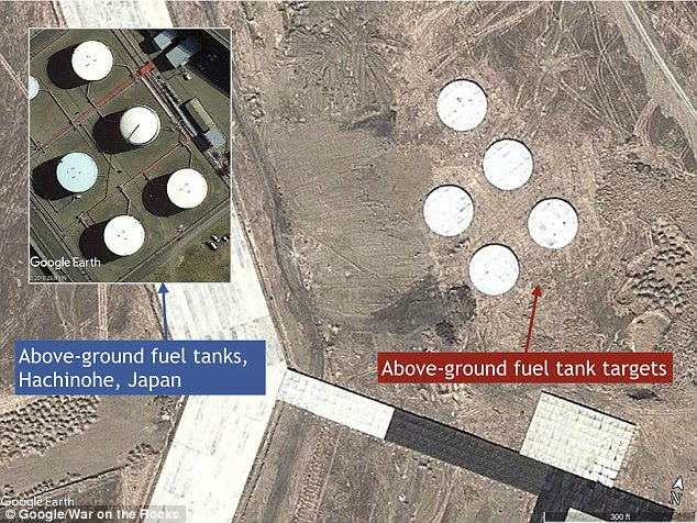 Possible test fuel tank targets appear to look similar to above-ground fuel tanks in Hachinohe, Japan