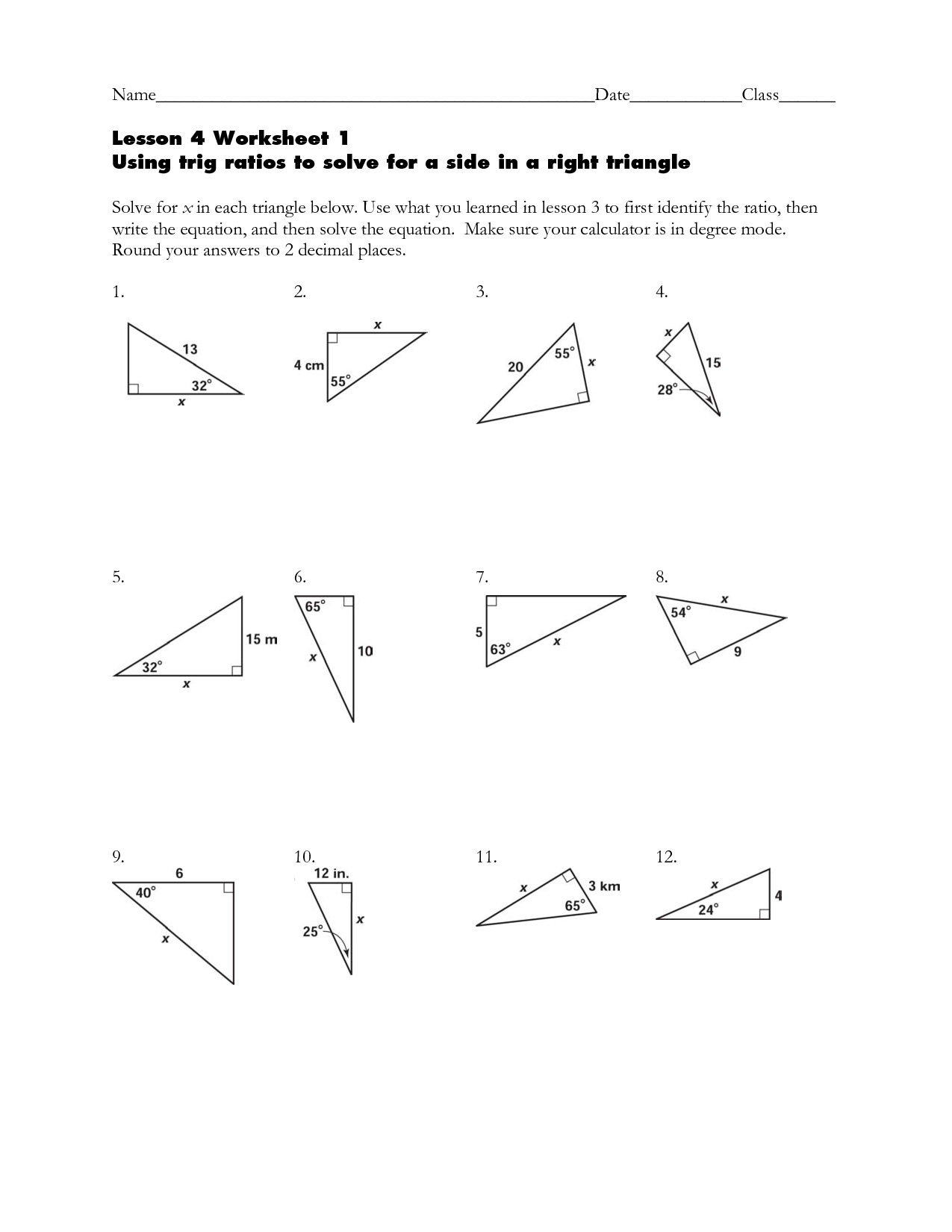 15 Best Images of Right Triangle Trigonometry Word Problems Worksheets  Right Triangle Trig