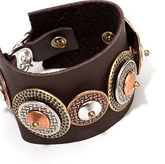 """StratiformBracelet featuring TierraCast 1"""" Hamnmertone Disks, 3/4"""" Woven Disks, 10mm Classic Large Hole Cap, Slotted D Ring Clasp and 1/2"""" Bead Bars. Design by Tracy Gonzales for TierraCast"""