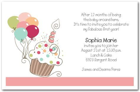Girl's Cupcake & Balloons Birthday Invitation, Cupcake