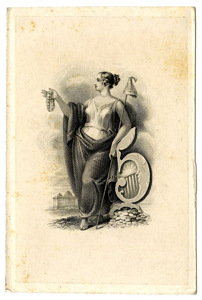 Female figure standing next to a large number 5. Design printed in black. (19th c)