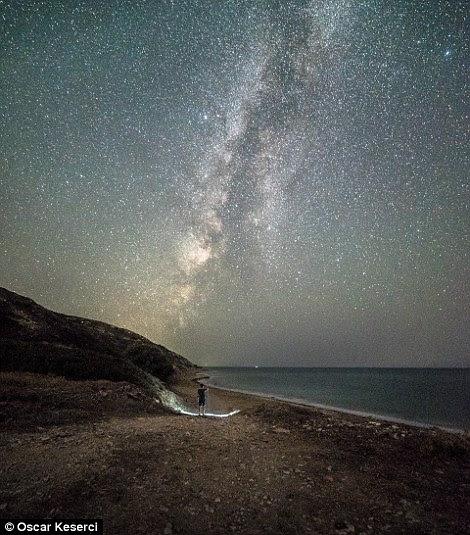 Estrelas, luz, cima, céu, acima, rochoso, praia, rhodes, grécia
