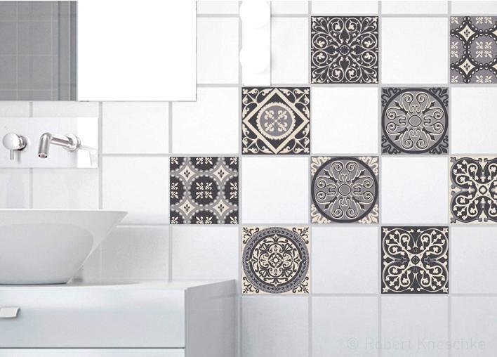 Stickers Adhésifs Carrelage Mural Carreaux De Ciment Gris 10 Cm X 10