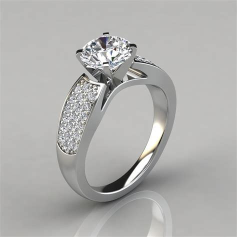 Wide Band Engagement Ring with Accents   PureGemsJewels