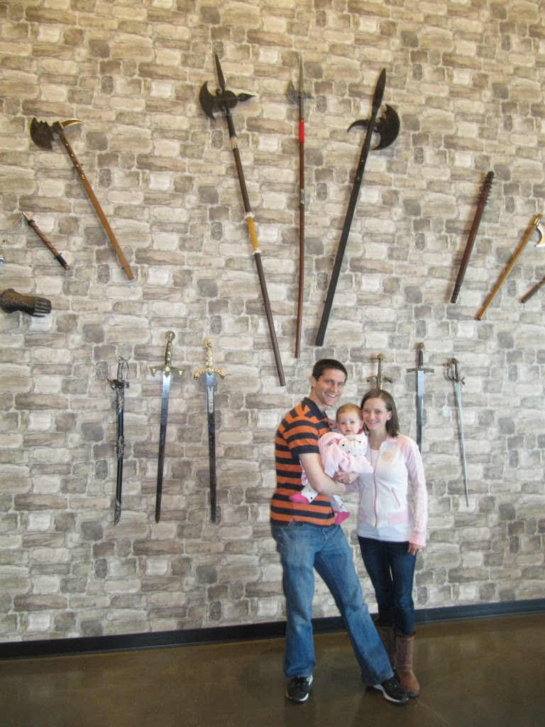 Legit weapons, we didn't get pictures on the thrones, but there were some on the opposite wall.