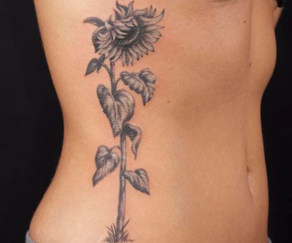 Black And White Sunflower Tattoo Tattoos Designs Ideas
