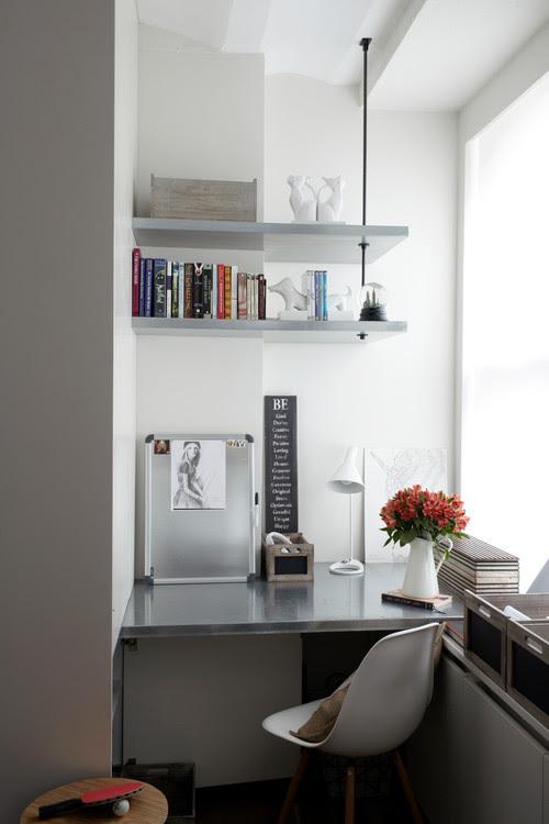 built in  workspace desk in corner