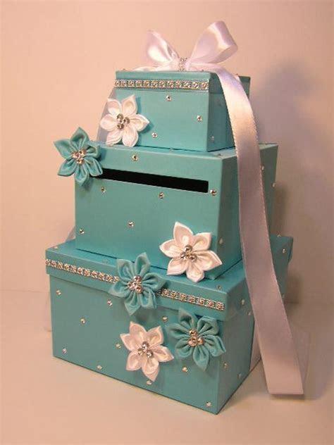 Blue Wedding Card Box Gift Card Box Money Box by bwithustudio
