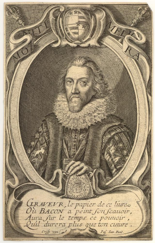 Portrait of Francis Bacon, half length in an oval, wearing ruff, robes, and ribbon; hand resting on a coat of arms; above, a motto, 'Moniti meliora'.  Engraving