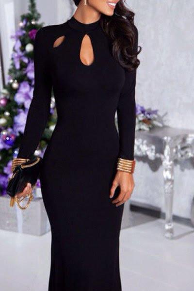أسود الجوف يقف الرقبة كم طويل فستان ماكسي