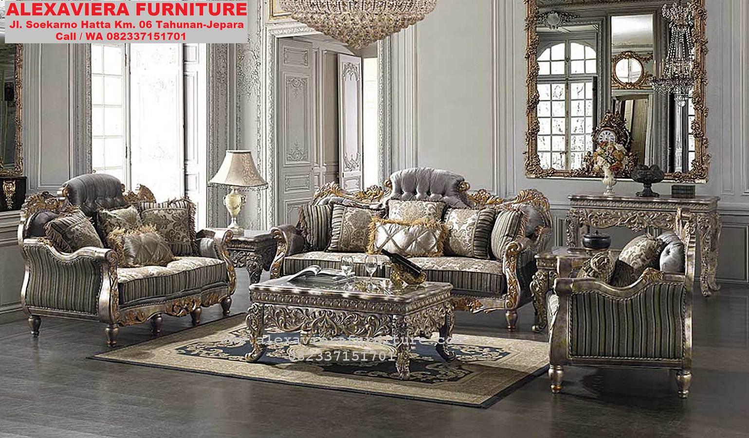 Sofa Ruang Keluarga Klasik Mewah Terbaru KT 056 Model Sofa Ruang