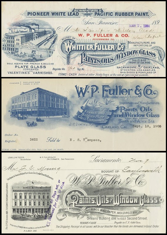 3 x 1890s paint business embellished typographic letterhead decals