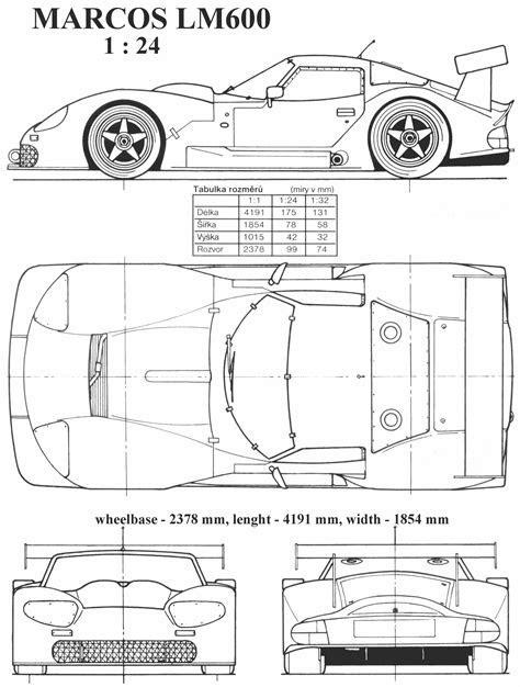 Marcos LM600 Blueprint - Download free blueprint for 3D
