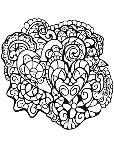 abstract heart patterns coloring page  free printable coloring pages