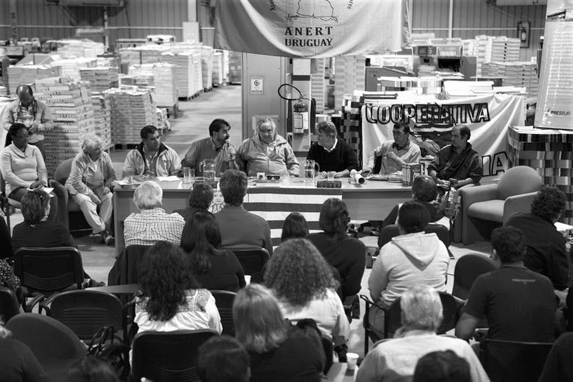 Asamblea Nacional de Empresas Recuperadas por Trabajadores (ANERT), con la presencia del presidente de la República, José Mujica, el sábado en la planta de la imprenta Pressur, en la Zona Franca de Nueva Helvecia.