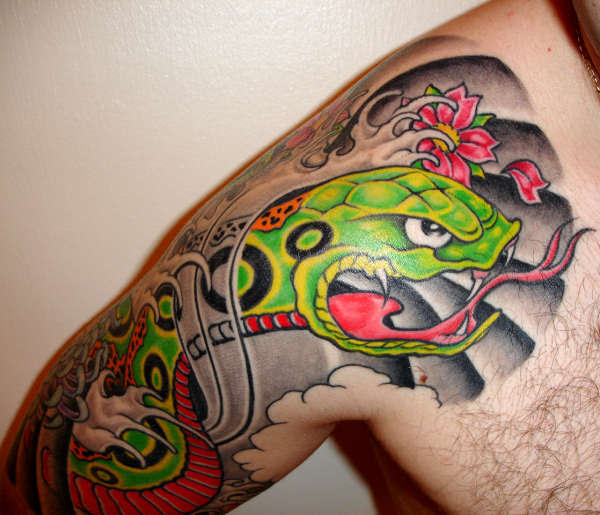 Japanese Style Snake Front Tattoo