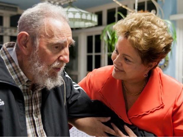 Fidel Castro e Dilma Rousseff se encontram em Havana nesta segunda-feira (27). (Foto: Alex Castro/Cubadebate/AP)
