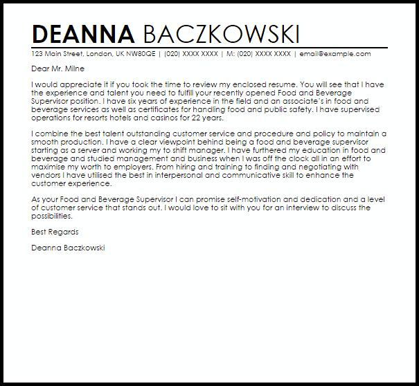 Food And Beverage Supervisor Cover Letter Sample Cover