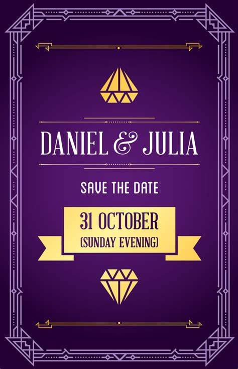 Purple wedding invitation card template vector 01 free