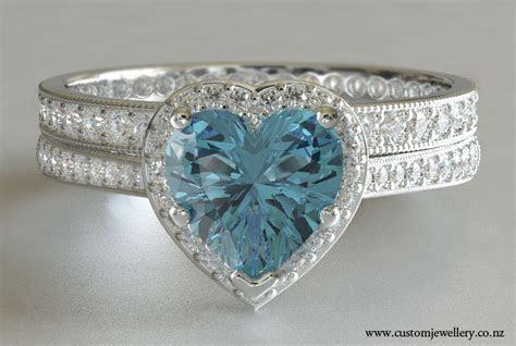 Diamond Engagement Ring Heart Shaped Aquamarine with Band