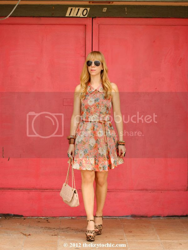 Sugarlips spin and collar floral dress, Mossimo Silverleaf leopard wedges, Los Angeles fashion blog, southern California style