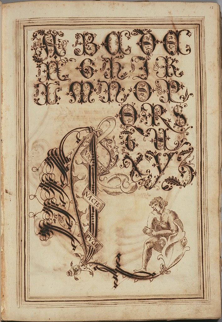 ink sketch of letter 'L'