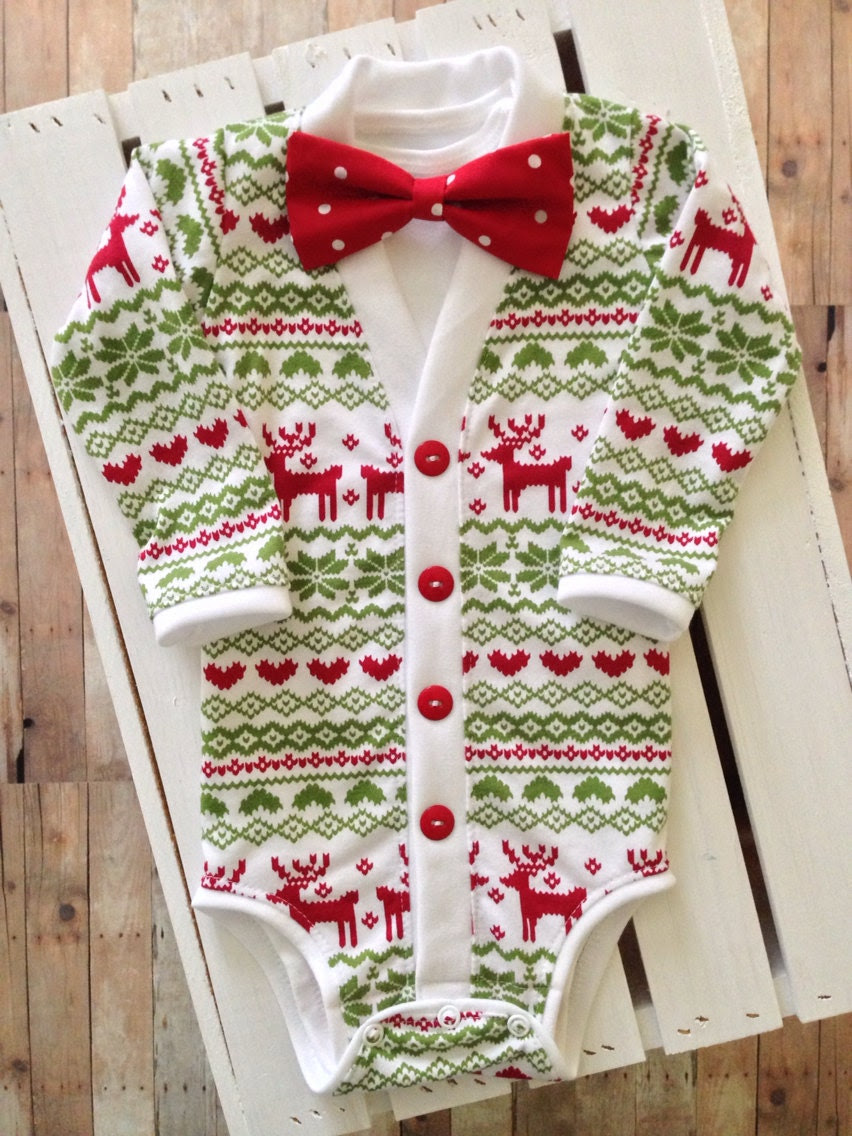 Christmas/Holiday Baby Preppy Cardigan: Reindeer Ugly Sweater Party Print with Interchangeable Tie Shirt and Bow Tie