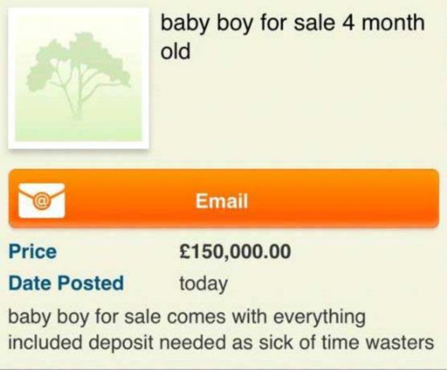 Sale: This advert, which appeared on Craigslist on Boxing Day, lead to a woman having her children taken away
