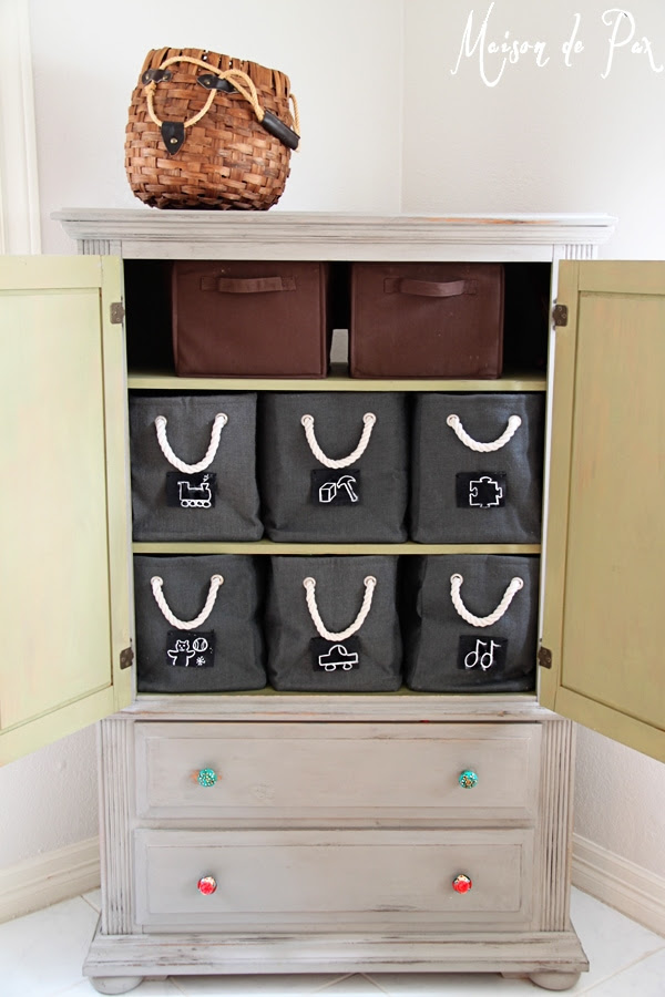 toy boxes full armoire