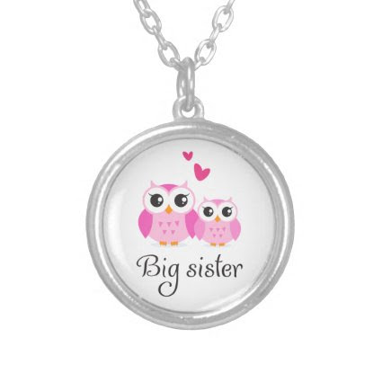 Cute owls big sister little sister cartoon custom jewelry