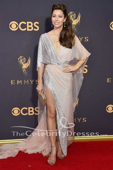 Jessica Biel High Split Evening Dress 2017 Emmy Awards Red