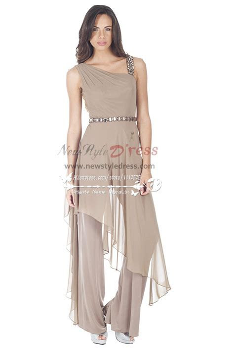 Fashion Gray chiffon jumpsuit with crystal for wedding
