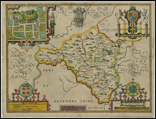 Radnorshire, Wales - John Speed proof maps 1605-1610