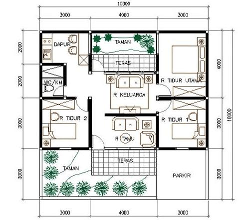 denah  rumah type 45 3 kamar  tidur  3 Desain Rumah Minimalis