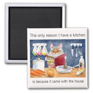 Cute, funny cooking cat in kitchen 2 inch square magnet