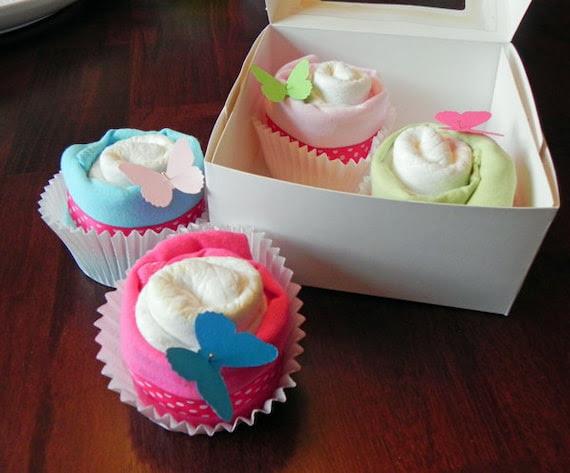 Diaper & Onesie Cupcake Gift Set - Cute Unique Baby Shower Gift girl boy neutral