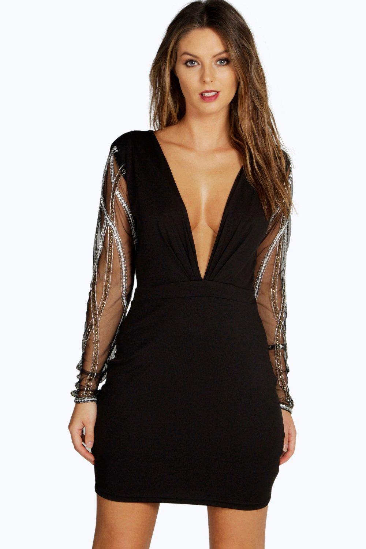 Stores paris boutique sequin print mesh bodycon dress women black