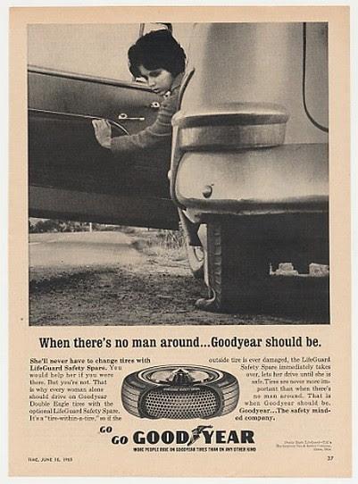 Adspast Com 1965 Lady Flat Tire No Man Around Goodyear Tires Ad