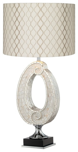 Coastal Embroidered Hourglass Spiral Sea Mosaic Table Lamp ...