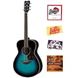 Yamaha FS720S Small Body Folk Acoustic Guitar Bundle with Instructional DVD, Strings, Pick Card, and Polishing...