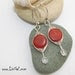 Red Coral Herringbone Sterling Silver Earrings
