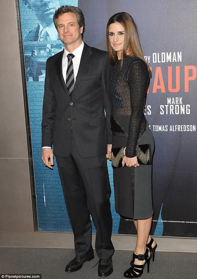 Como chic: Colin Firth e sua esposa Livia Giuggilo combinado ensembles por teaming cinza com preto
